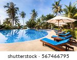 beautiful tropical beach front... | Shutterstock . vector #567466795