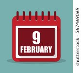 calendar with 9 february in a...