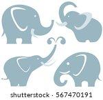vector elephants set