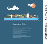cargo container ship at sea and ... | Shutterstock .eps vector #567471571