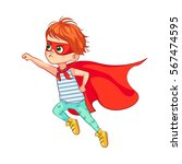 funny little boy flies through... | Shutterstock .eps vector #567474595