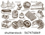 desserts set. vector... | Shutterstock .eps vector #567476869