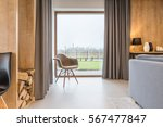 bright room with big window and ... | Shutterstock . vector #567477847