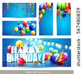 collection of birthday party... | Shutterstock .eps vector #567480859