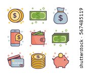 money icon. flat line icon set. | Shutterstock .eps vector #567485119