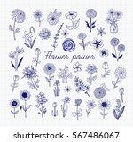 set of blue pen doodle sketch... | Shutterstock .eps vector #567486067