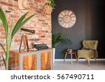 room with stylich commode and... | Shutterstock . vector #567490711