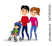 happy family. dad wheels the... | Shutterstock .eps vector #567492424