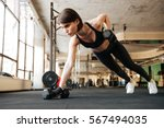 attractive young woman athlete... | Shutterstock . vector #567494035