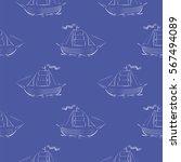 sea ships silhouettes seamless... | Shutterstock . vector #567494089