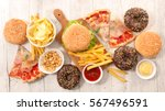 collection of junk food | Shutterstock . vector #567496591