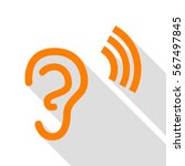 human ear sign. orange icon... | Shutterstock .eps vector #567497845