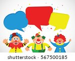 set of colorful clowns with... | Shutterstock .eps vector #567500185