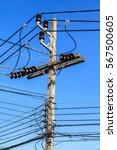 Electric Pole Power Tangle Wir...