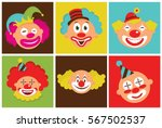 set of colorful clown heads.... | Shutterstock .eps vector #567502537