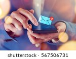 new messages on mobile phone ... | Shutterstock . vector #567506731