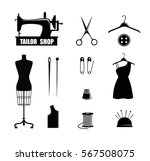 tailor shop icons  scissors ... | Shutterstock .eps vector #567508075