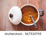 beef mussaman curry in a pot on ...   Shutterstock . vector #567510745