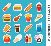 food and drink stickers.... | Shutterstock .eps vector #567512755