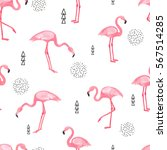 watercolor flamingo seamless... | Shutterstock .eps vector #567514285