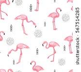 Watercolor Flamingo Seamless...