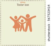 happy family icon in simple... | Shutterstock .eps vector #567523414