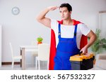superhero repairman with tools... | Shutterstock . vector #567532327