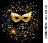 mardi gras golden carnival mask ... | Shutterstock .eps vector #567535231