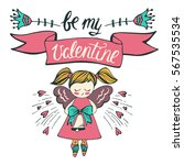 valentine's day card with cute... | Shutterstock .eps vector #567535534