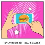 comic phone with halftone... | Shutterstock .eps vector #567536365
