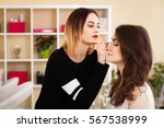make up artist doing make up... | Shutterstock . vector #567538999