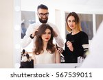 beauty salon  the girl makeup...   Shutterstock . vector #567539011