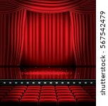 open red curtains with seats... | Shutterstock .eps vector #567542479