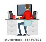 vector illustration of a guy... | Shutterstock .eps vector #567547831
