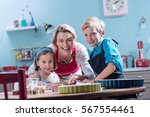 looking at camera. a cheerful... | Shutterstock . vector #567554461