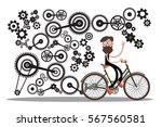 man on bicycle with cogs  ... | Shutterstock .eps vector #567560581