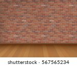 red brick wall and wooden floor ... | Shutterstock .eps vector #567565234