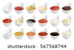 set of different sauces... | Shutterstock . vector #567568744