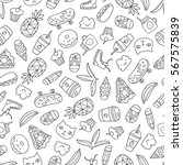 seamless pattern with funny... | Shutterstock .eps vector #567575839