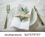 decorated table on the wedding... | Shutterstock . vector #567579757