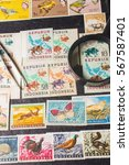 stamp collecting. philatelic.... | Shutterstock . vector #567587401