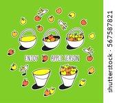 enjoy apple season. happy... | Shutterstock .eps vector #567587821