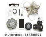 styled minimal flatlay with...   Shutterstock . vector #567588931