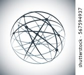 abstract lines network sphere... | Shutterstock .eps vector #567594937