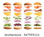 burger with ingredients on a... | Shutterstock . vector #567595111