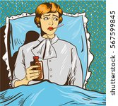 sick woman with fever lie down... | Shutterstock . vector #567599845