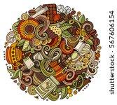cartoon hand drawn doodles cafe ... | Shutterstock .eps vector #567606154