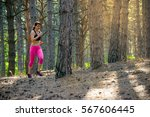young woman running on the...   Shutterstock . vector #567606445