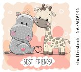 Cute Cartoon Hippo And Giraffe...
