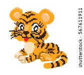vector illustration of a tiger... | Shutterstock .eps vector #567611911